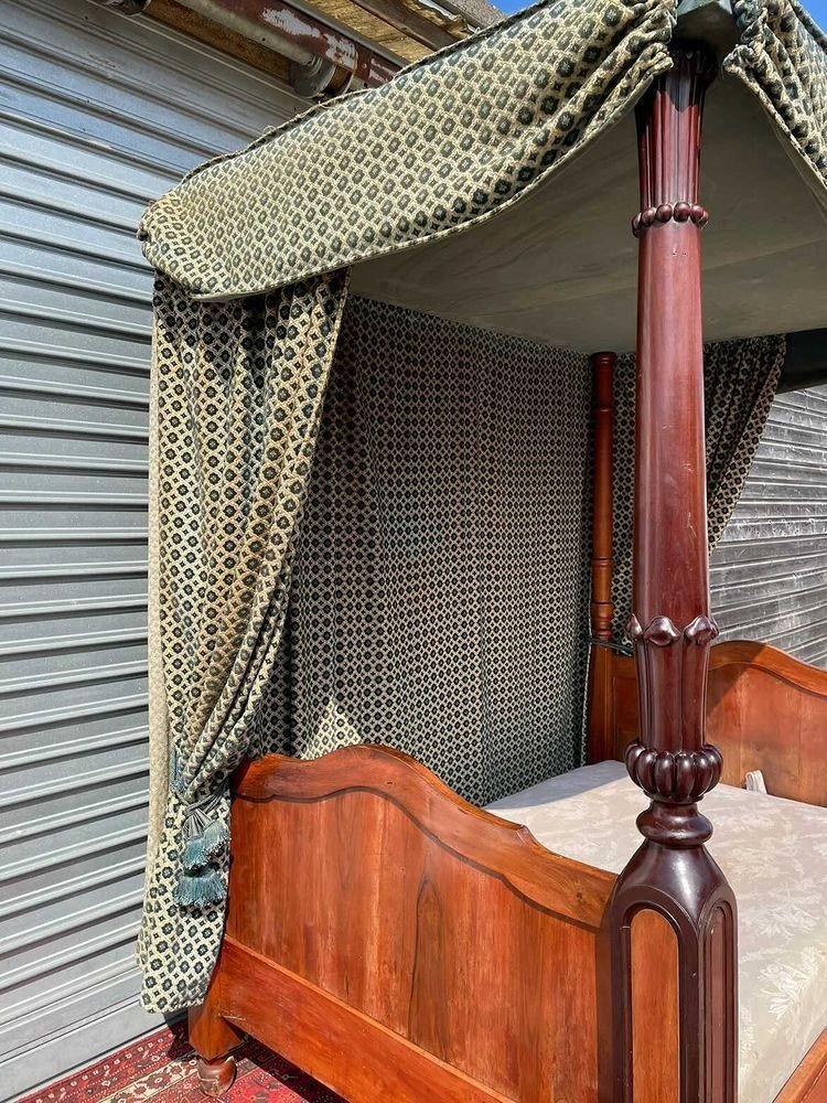 Canopy Bed In Mahogany 19th Time-photo-7