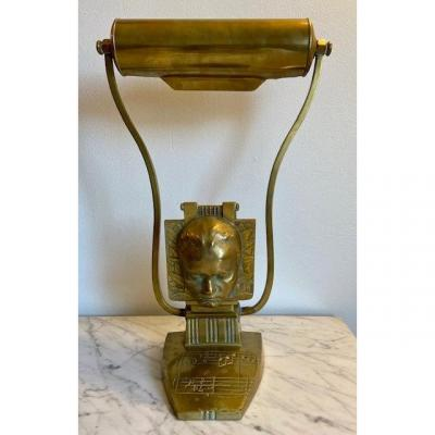 Rare Bronze Desk Lamp With Mozart Music Notes 1900