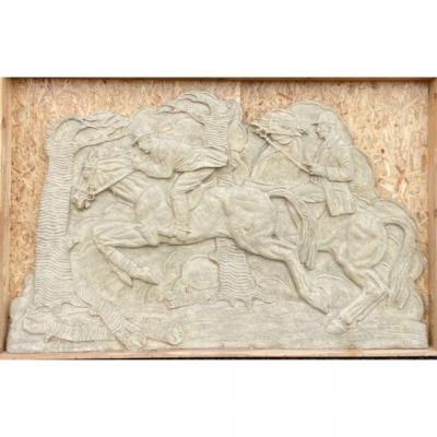 Bas-relief Oscar De Clerck The Horsemen 1932 In Plaster