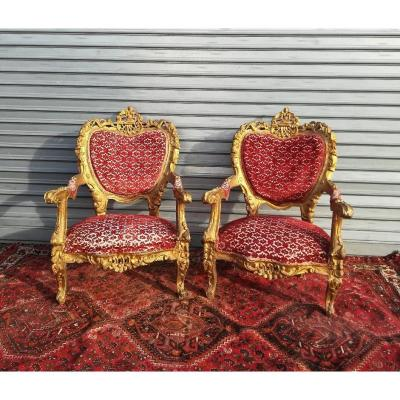 Pair Of Ceremonial Armchairs In Golden Wood