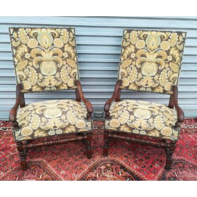 Pair Of Louis XIII Armchairs 19th Time