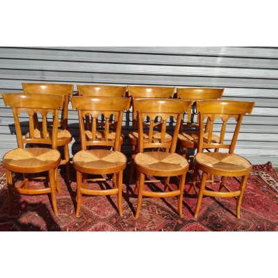 Suite Of 8 Straw Chairs In Cherry