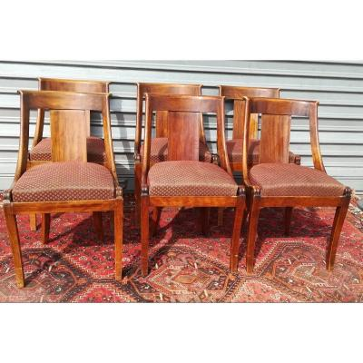 Suite Of 6 Gondola Chairs In Walnut From The 19th Time