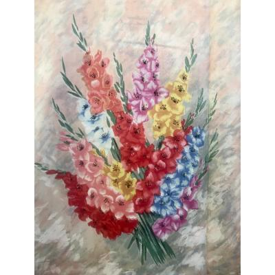 <br /> <br /> I LIKE THEM OF LOVE AND HOWEVER I DETEST GLADIOLUSES!&nbsp;<br /> IT IS A PAIR OF CURTAINS FROM THE &nbsp;50&#39;s AND THEY ARE AS BRAND NEW, COTTON OF FROZEN FABRIC.. AS THE CHINTZ, PRINTED AS THOUGH THEY WERE PAINTED THESE BIG BUNCHES OF GLADIOLUSES IN THE LIVELY COLOURS WHICH ANNOUNCE THE RETURN OF THE SPRING..<br /> THEY ARE CLEAN, YOU JUST HAVE TO HANG THEM THEY WILL BRING A TONIC NOTE IN YOUR HOME&nbsp;<br /> HAUTEUR:240 CM<br /> BREADTH IN THE TOP OF EVERY CURTAIN (WHERE IL THERE IN FROWNED WIDTH): 105 CM<br /> BREADTH AT BOTTOM: 185 CM<br /> &nbsp;