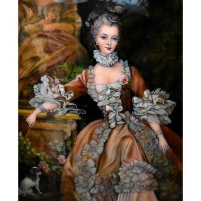 Portrait De Madame De Pompadour , Email De Limoges Signé  Fauré , d'Après Boucher, émaux