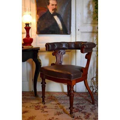 """Fauteuil De Bureau Anglais """" Captain's Chair"""", Acajou Et Cuir , Esprit Chesterfield,  XIX ème"""