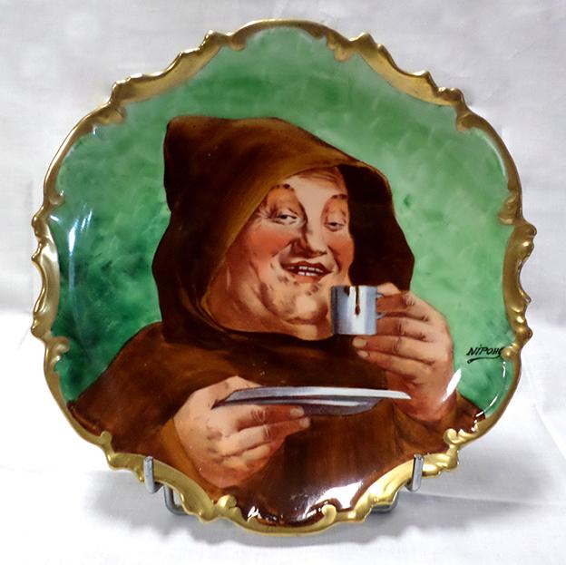 Assiette Au Moine, Porcelaine De Limoges, Peinte Main