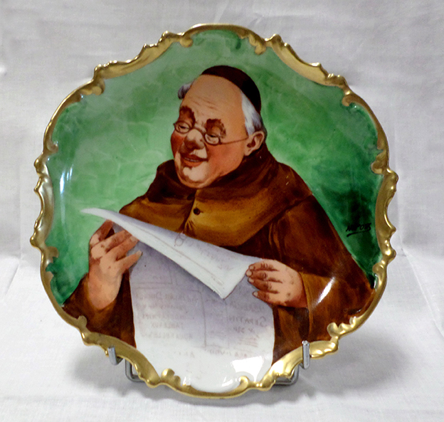 Limoges Hand Painted Porcelain, Monk Reading His Newspaper