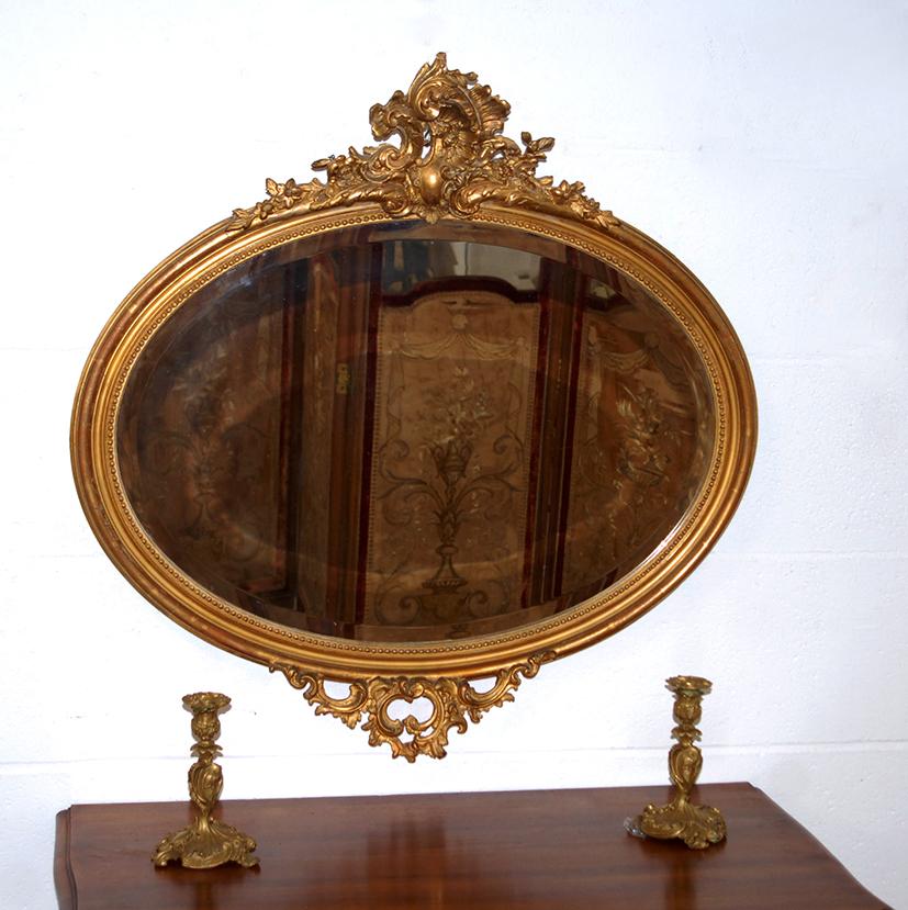 Miroir ovale horizontal rocaille style louis xv dor for Miroir louis xv