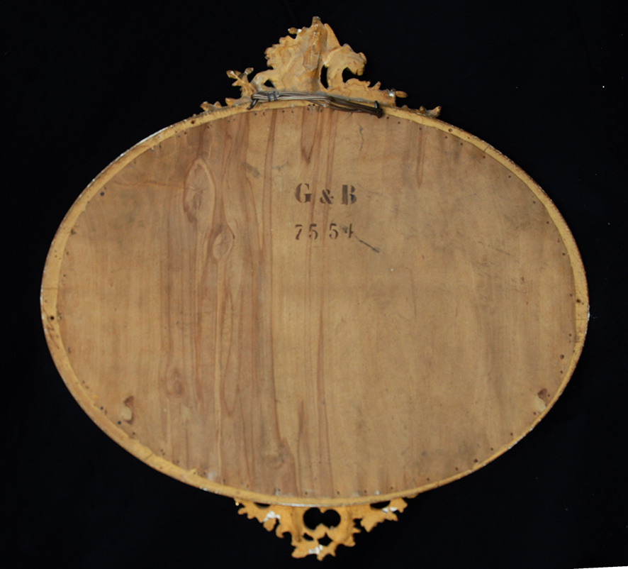 Miroir Ovale Horizontal, Rocaille, Style Louis XV, Doré