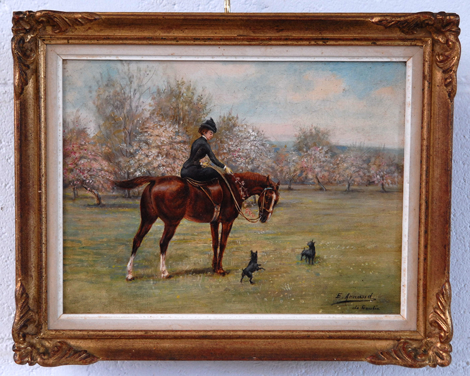 Painting,  Oil On Canvas, Cavaliere Sidesaddle,