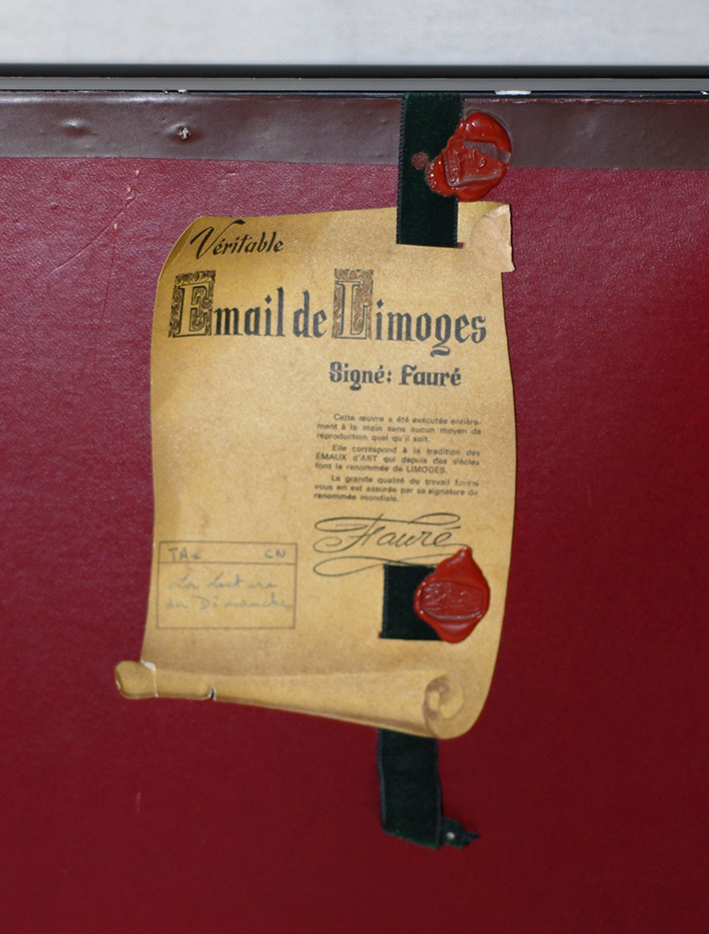 Fauré, Grand Email De Limoges Encadré, La Lecture du Dimanche-photo-2