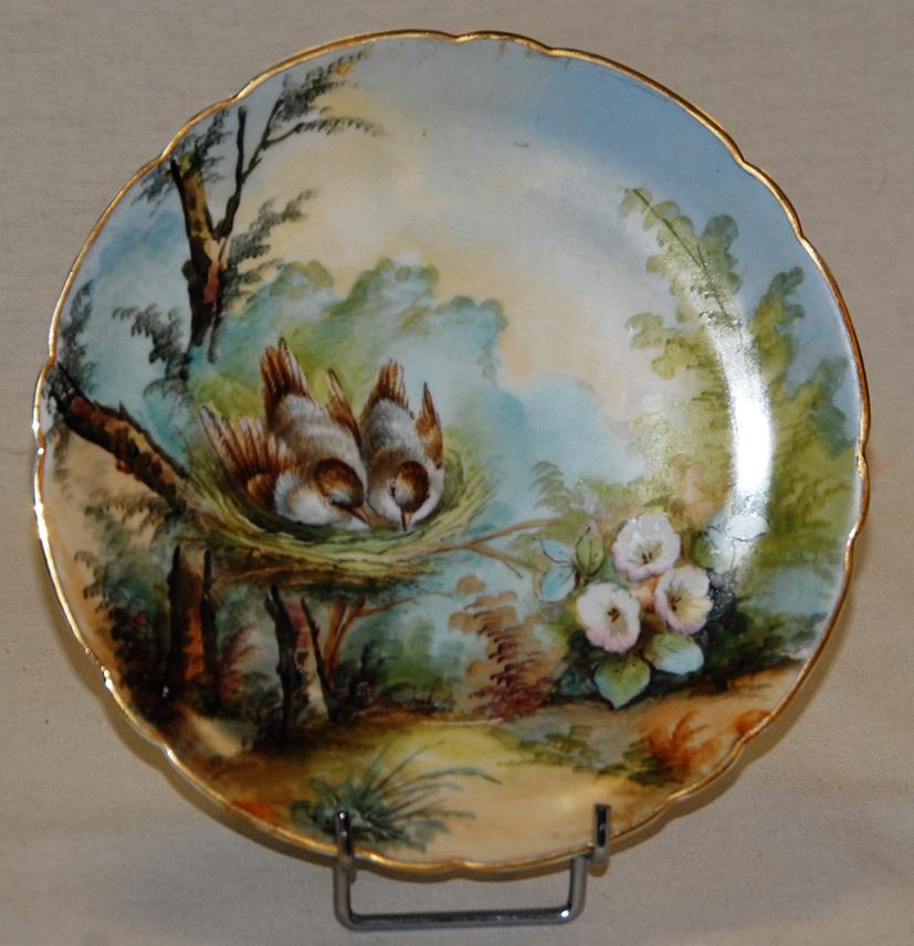 Paire d'Assiettes Aux Oiseaux, Porcelaine De Limoges, Décor Peint Main, XIX Eme, Pouyat-photo-2