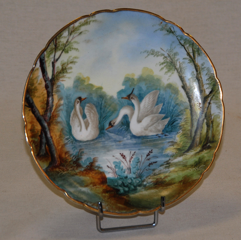 Paire d'Assiettes Aux Oiseaux, Porcelaine De Limoges, Décor Peint Main, XIX Eme, Pouyat-photo-3