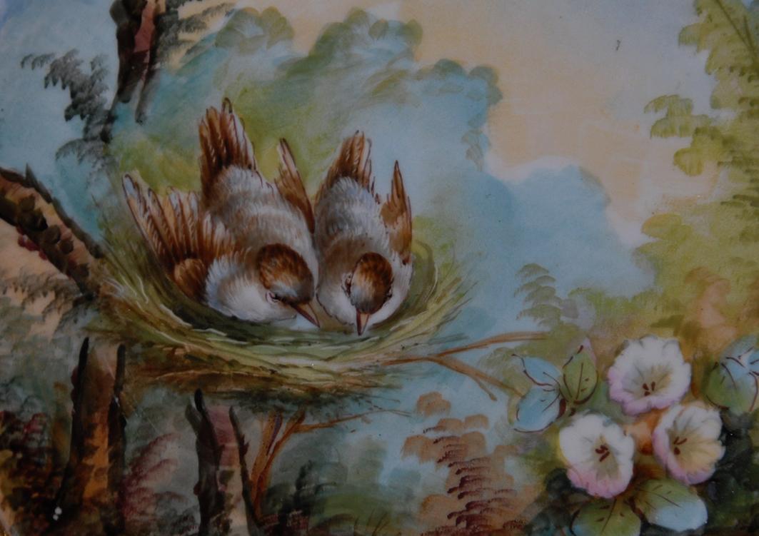 Paire d'Assiettes Aux Oiseaux, Porcelaine De Limoges, Décor Peint Main, XIX Eme, Pouyat-photo-4