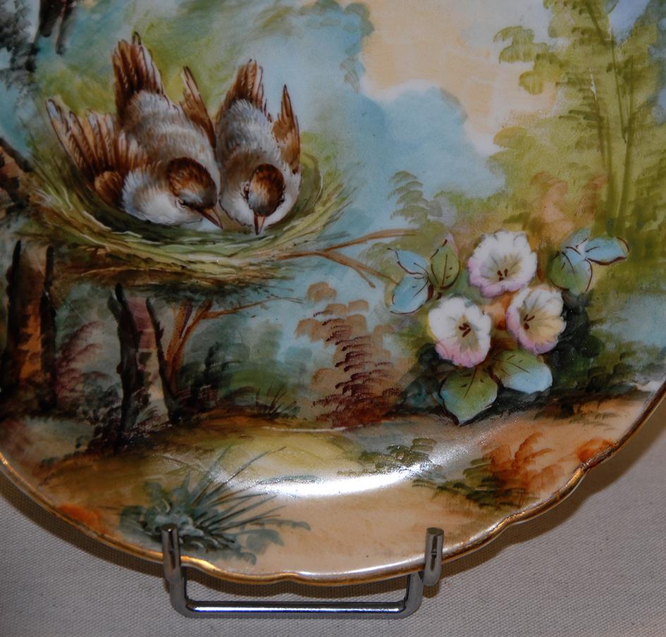 Paire d'Assiettes Aux Oiseaux, Porcelaine De Limoges, Décor Peint Main, XIX Eme, Pouyat-photo-1