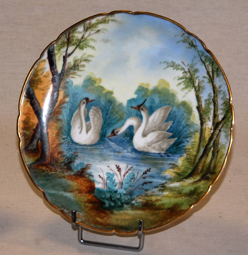 Paire d'Assiettes Aux Oiseaux, Porcelaine De Limoges, Décor Peint Main, XIX Eme, Pouyat-photo-5