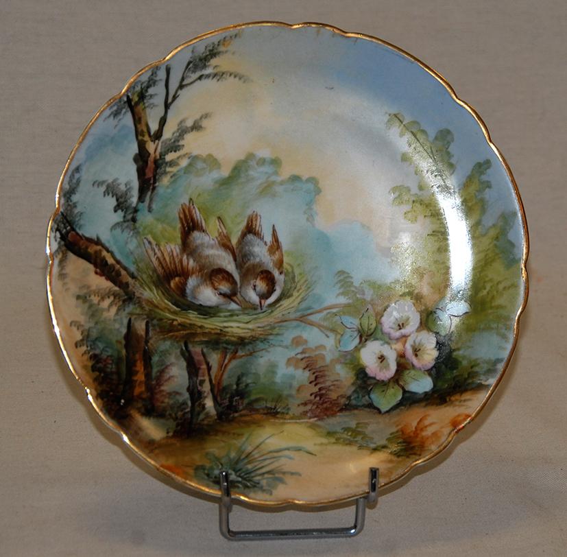 Paire d'Assiettes Aux Oiseaux, Porcelaine De Limoges, Décor Peint Main, XIX Eme, Pouyat-photo-6