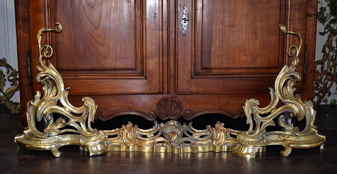 Grande  Barre De Cheminée,  Devant De Cheminée, Style Louis XV, Bronze, XIXeme