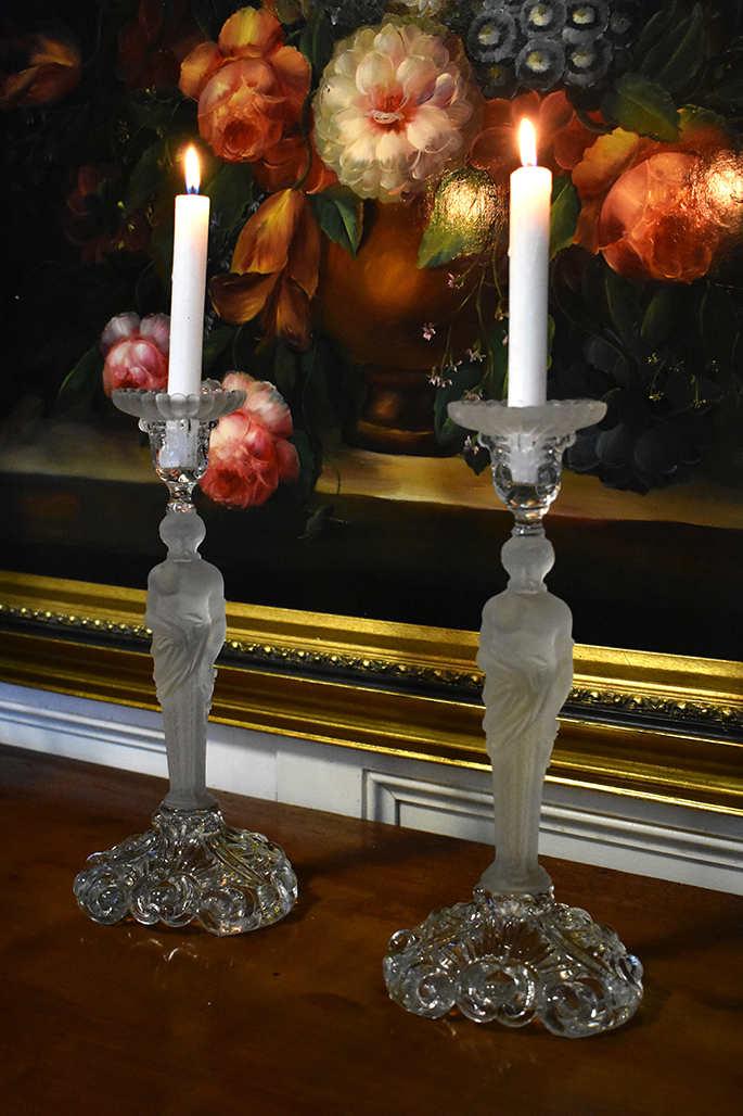 Pair Of Candlesticks In Atlantes, Glass And Crystal Frosted
