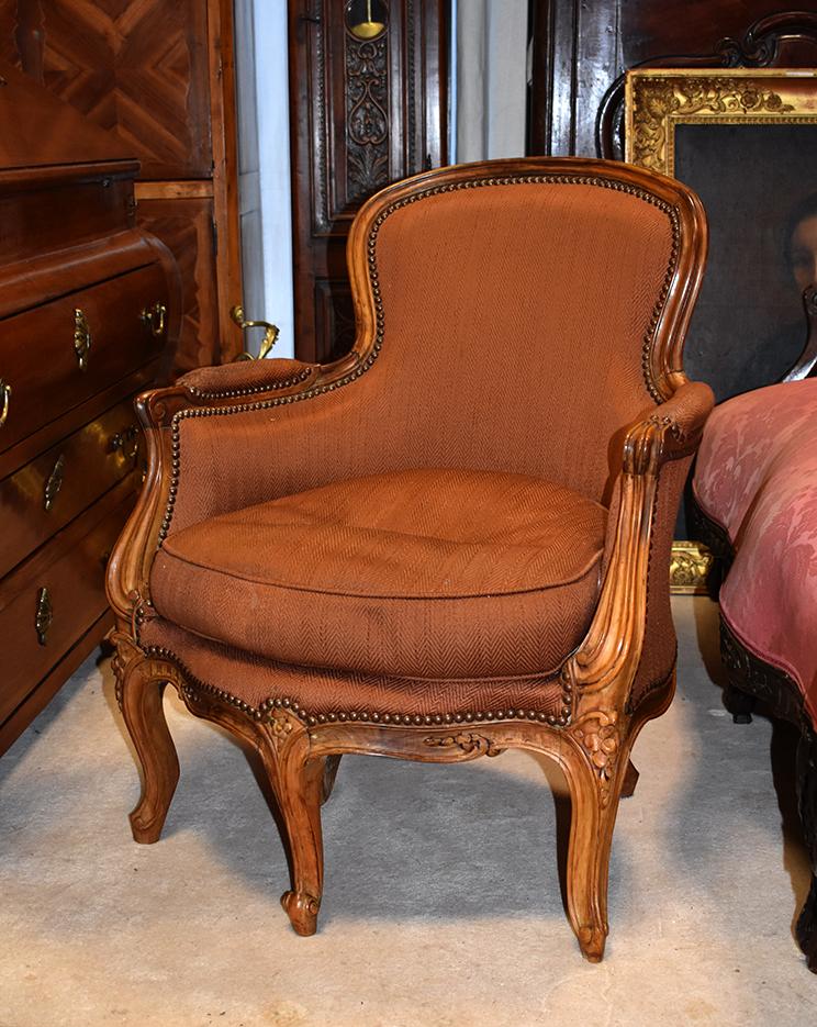 Bergère à Cinq Pieds, Fauteuil à 5 Pieds, Style Louis XV, Epoque XIXeme