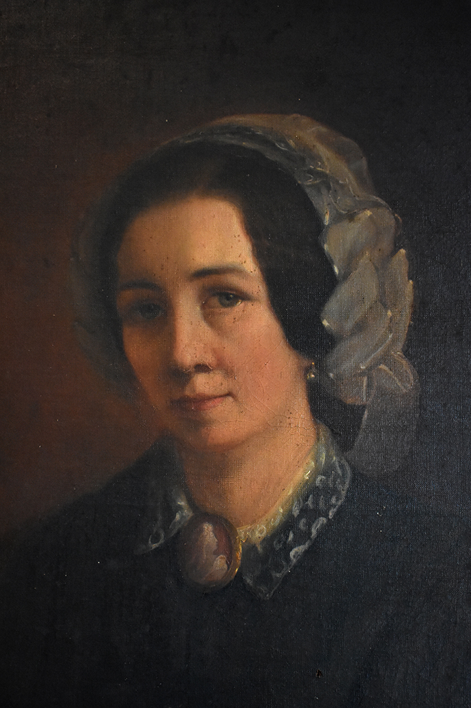 Grand Portrait De Femme Au Bonnet De Dentelle, Epoque  XIXeme, Cadre Restauration