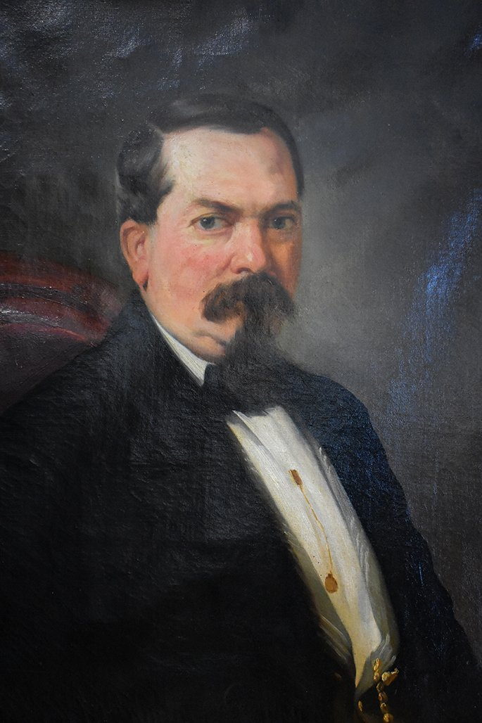 Portrait Masculin, Homme en Smoking, Huile Sur Toile, Epoque XIXème