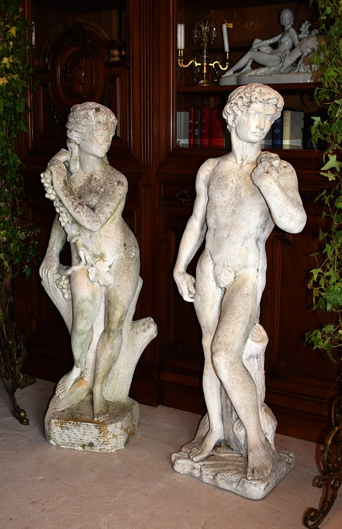 Paire De Statues De Jardin, Couple, Statue Homme, Statue Femme, Pierre reconstituée