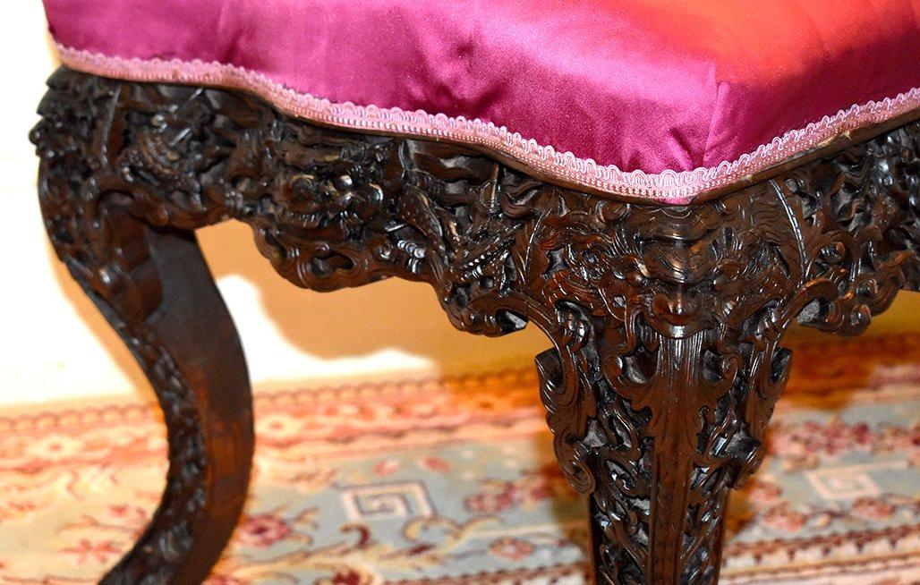 Chaise En Bois Sculpté, Fauteuil Tonkin, Indochine, Décor de  Dragons
