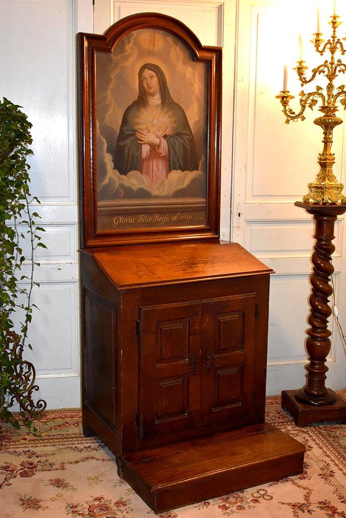 Oratoire, Meuble De Dévotion, Prie Dieu,  Epoque XVII ème , Portrait Vierge Marie