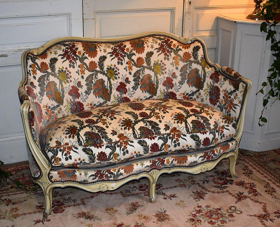 Canapé Corbeille De Style Louis XV Laqué, Banquette Avec Coussin, Tissu Velours