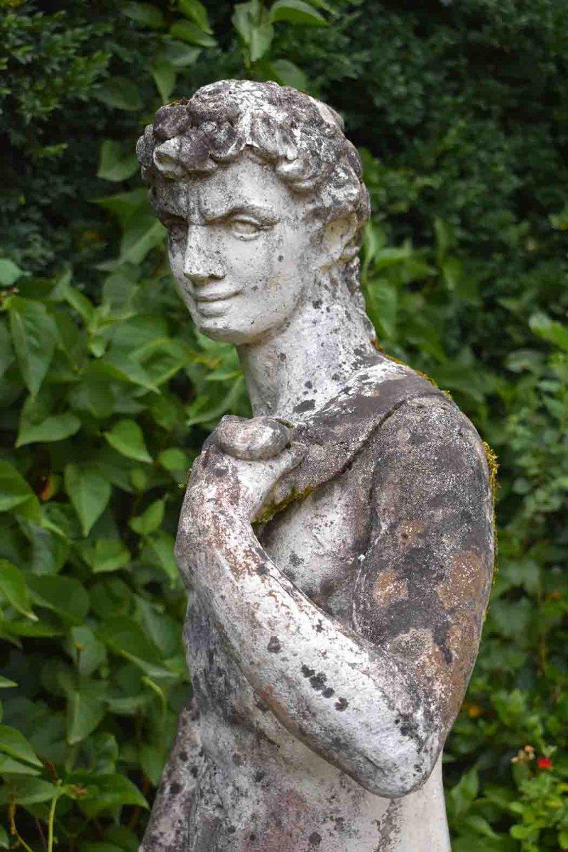 Grande Statue De Jardin En Pierre Reconstituée, Homme Nu, Apollon, XX ème