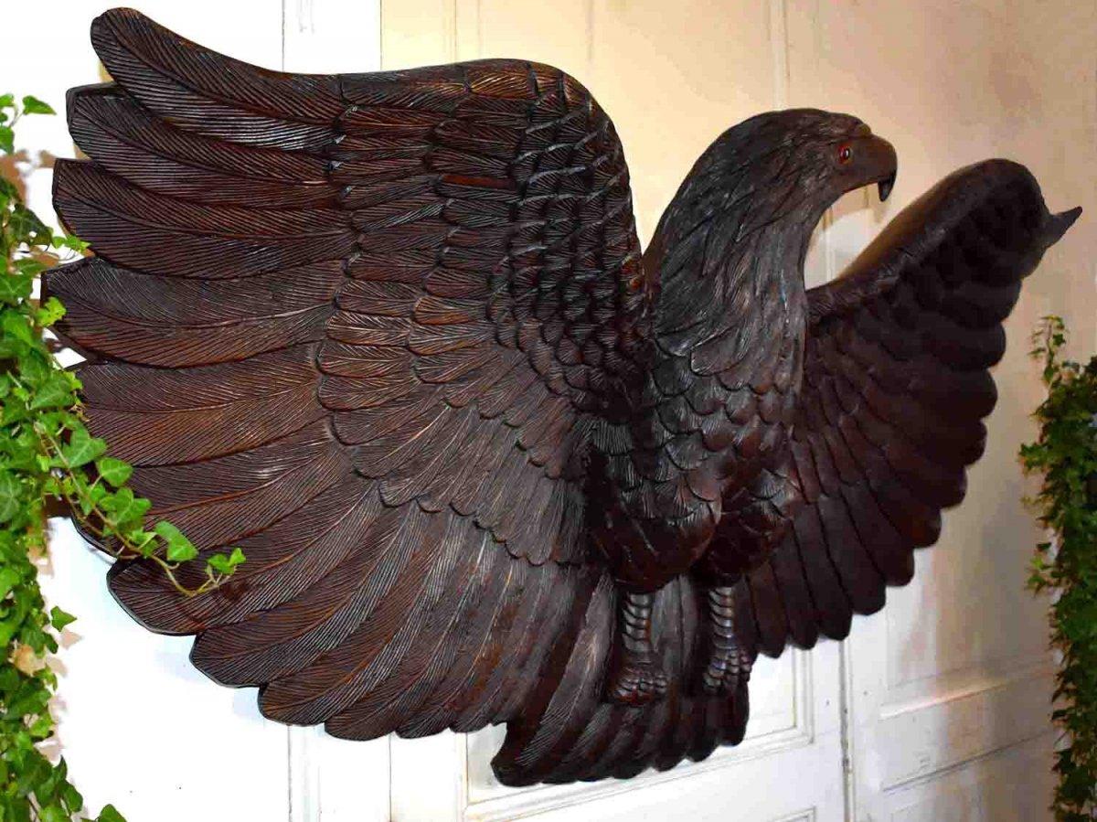 Grand Aigle Royal En Bois Sculpté, Enseigne, Elément Décoratif, Sculpture Naturaliste
