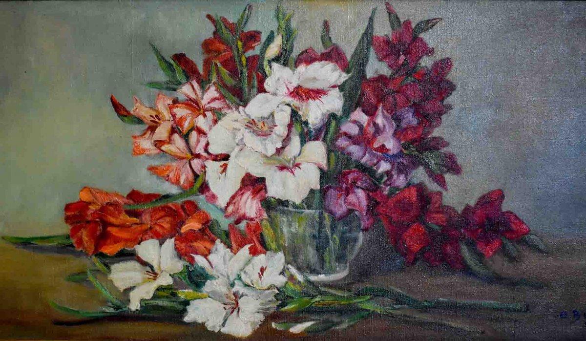 """C. Bonnet """" Bouquet de Glaïeuls Sur Entablement"""", Grande Huile sur Toile Encadrée,  Bouquet de Fleurs, XX ème"""