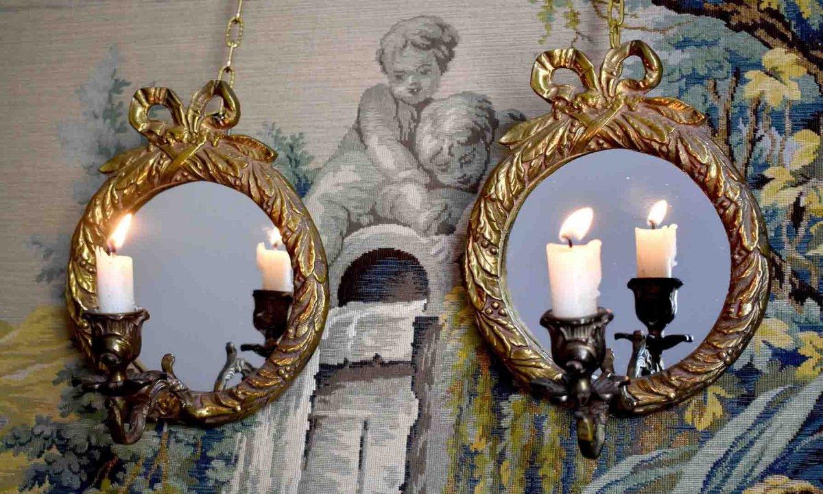 Paire d'Appliques Miroirs En Bronze Doré, Style Louis XVI, Eclairage Bougie, Epoque XX ème