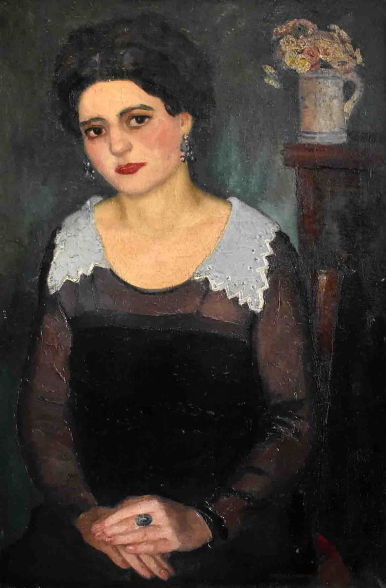 Pierre Wagner ( 1897-1943), Portrait De Femme,  Grand Portrait Féminin, Huile Sur Toile