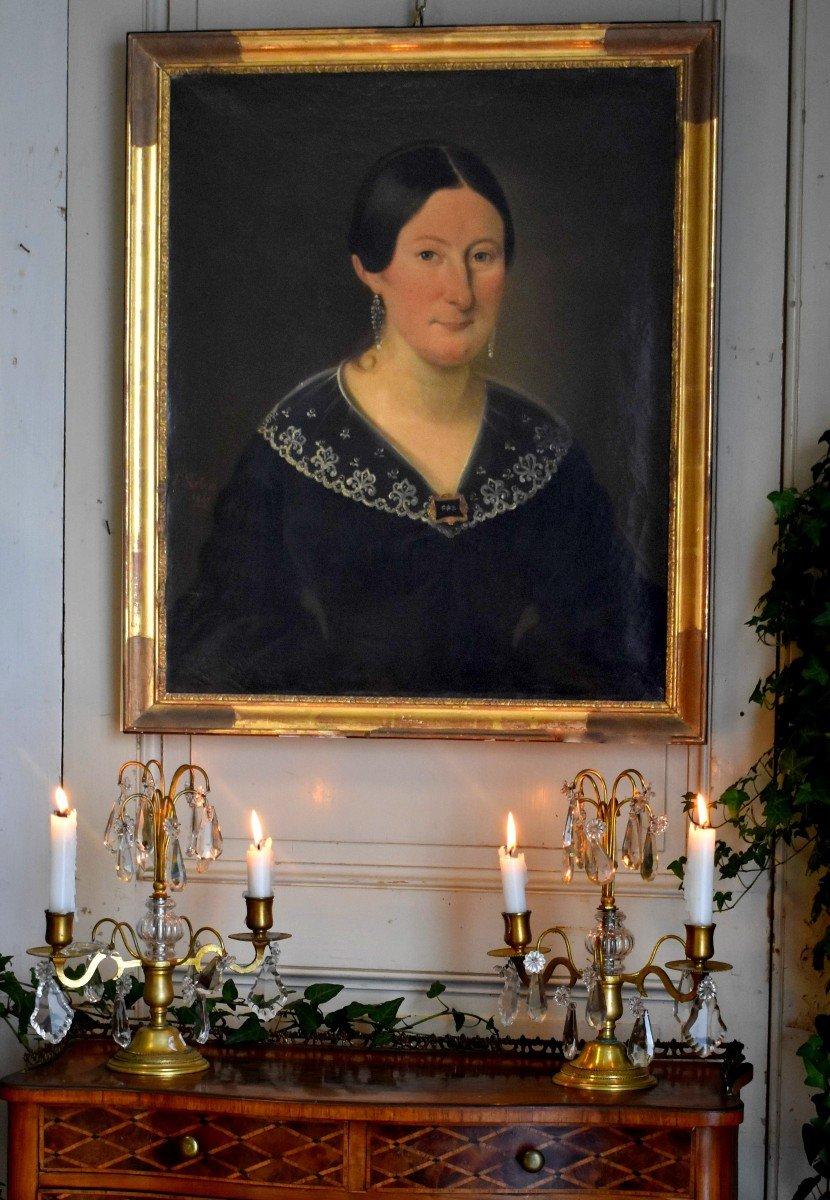 J. Roberti, Portrait Of Madame Catherine De Lasnerie, 1841, Oil On Canvas, Female Portrait-photo-2