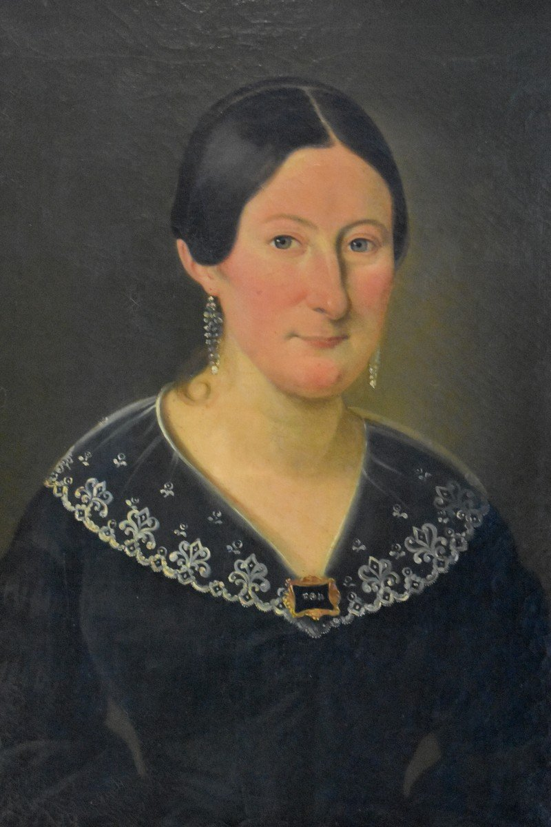 J. Roberti, Portrait Of Madame Catherine De Lasnerie, 1841, Oil On Canvas, Female Portrait-photo-3