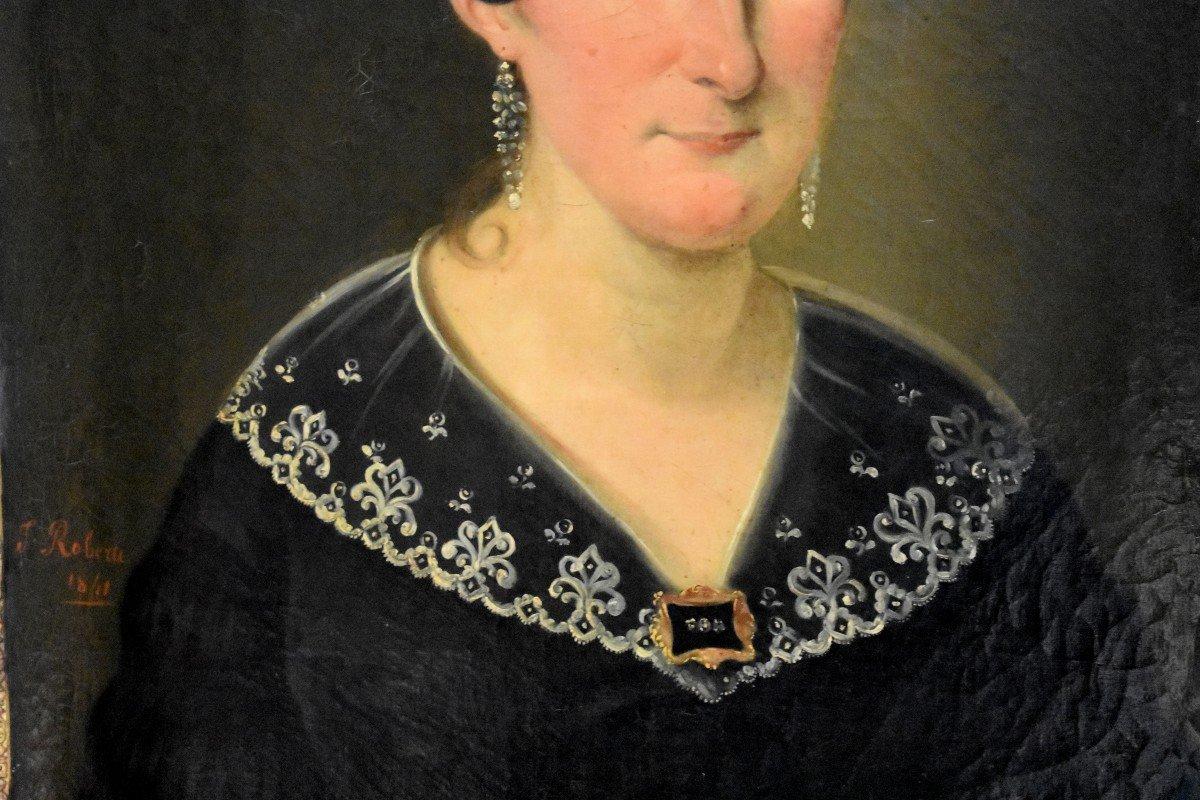 J. Roberti, Portrait Of Madame Catherine De Lasnerie, 1841, Oil On Canvas, Female Portrait-photo-1