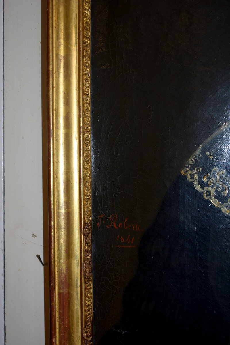 J. Roberti, Portrait Of Madame Catherine De Lasnerie, 1841, Oil On Canvas, Female Portrait-photo-6