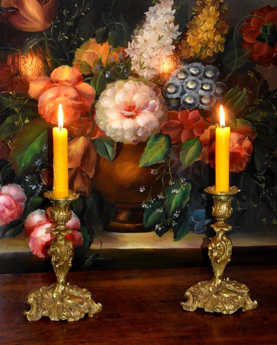 Paire De Bougeoirs Style Rocaille, Louis XV, Bronze Doré, Bouts De Table, XIX ème-photo-2