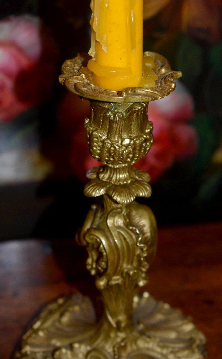 Paire De Bougeoirs Style Rocaille, Louis XV, Bronze Doré, Bouts De Table, XIX ème-photo-1