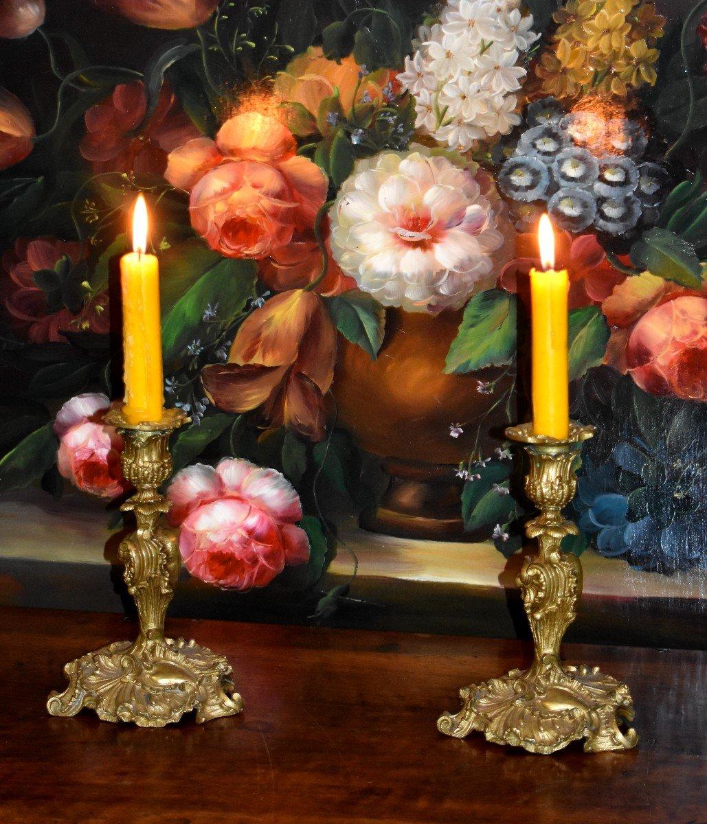 Paire De Bougeoirs Style Rocaille, Louis XV, Bronze Doré, Bouts De Table, XIX ème-photo-8