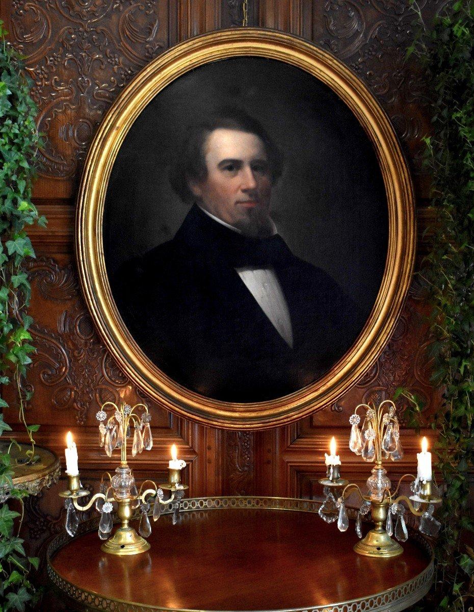Portrait Ovale, Homme En Costume, Dandy à La Barbe et Aux Cheveux Roux, Période Romantique, Epoque XIX ème