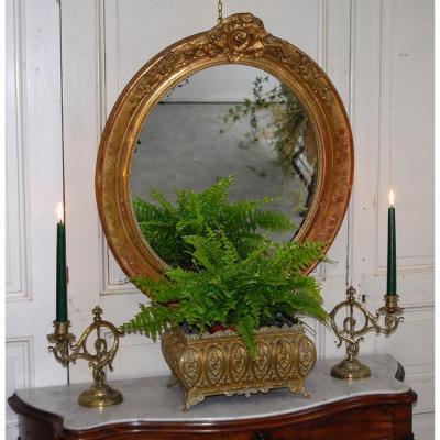 Miroir Ovale Doré, XIXème, Décor De Fleurs
