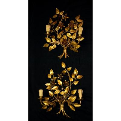Pair Of Appliques, Decoration Of Roses, Gilded Metal, XXth C.