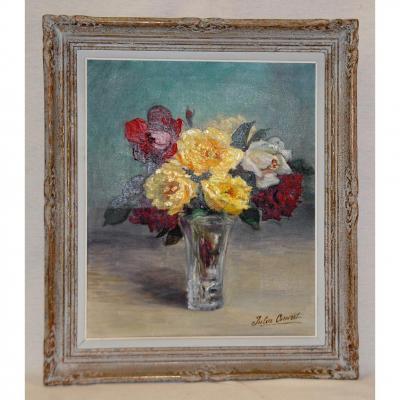 Huile Sur Toile, Bouquet De  Fleurs de Printemps, XX ème, Signé J. Convert