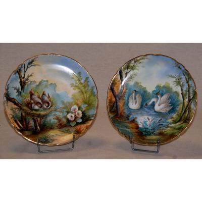Paire d'Assiettes Aux Oiseaux, Porcelaine De Limoges, Décor Peint Main, XIX Eme, Pouyat