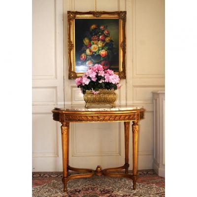 Guéridon Style Louis XVI, Bois Doré, Table De Milieu, Sellette, Dessus Marbre, XIX Eme