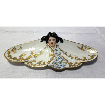 Vide Poche, Baguier En Porcelaine Peinte Main Avec Réhausse à La Pâte d'Or, Art Nouveau
